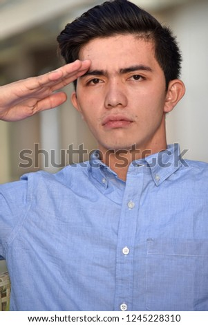 Saluting Diverse Male #1245228310