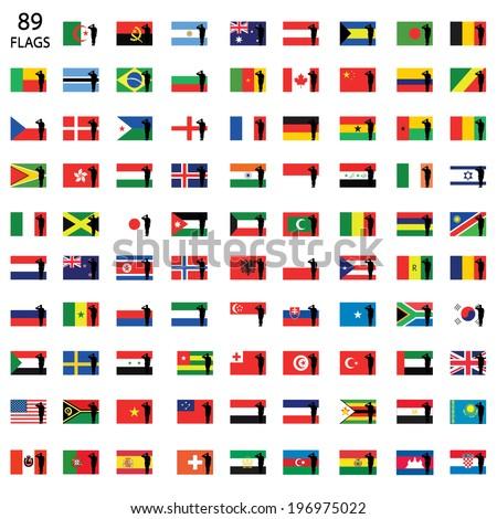 Saluting World Flag Set