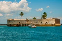 SALVADOR, BAHIA, BRAZIL: Fort of San Marcelo in Salvador Bahia. Top view of the port city of Salvador.