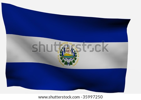 salvador 3d flag isolated on white background