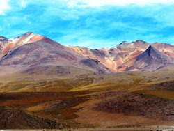 Salvador Dali Desert (Dali Valley) is  extremely barren scenery valley of Potosi, Bolivia and is characterized by surreal landscapes. Colored bright mountains Andes. Mountainous breathtaking nature.