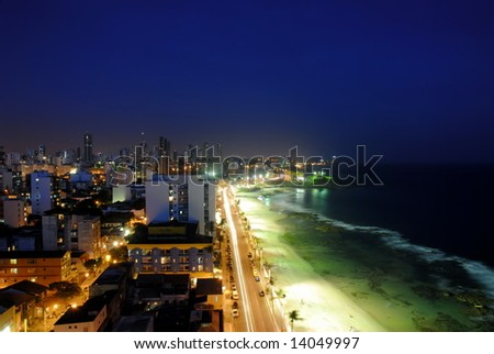 Salvador of Bahia at night - Brazil . - stock photo