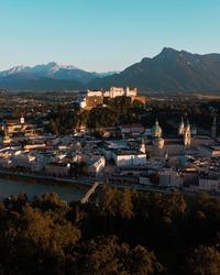Salzburg / Austria: Aerial view of Hohensalzburg fortress and Salzburg's oldtown
