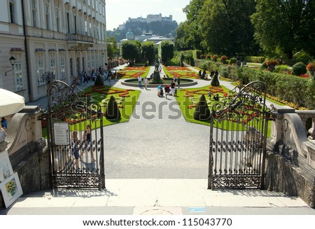 SALZBURG, AUSTRIA - AUGUST 22: A part of the beautiful Mirabell gardens in Salzburg. A scene from the hollywood movie 'The Sound of Music' was shot on this stairs, August 22, 2012 in SALZBURG, Austria