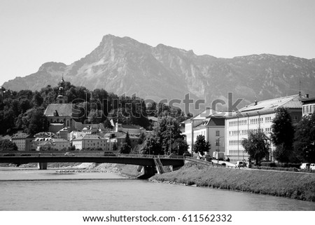Salzburg, Austria. Black and white style.