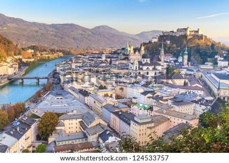 Salzburg (Austria) inner city with churches
