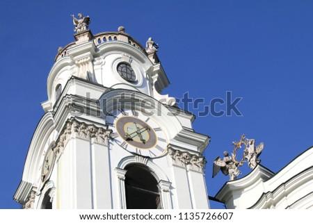 SALZBURG, AUSTRIA - MAY 28, 2018 : Architectural details of the Collegiate Church in Austria #1135726607