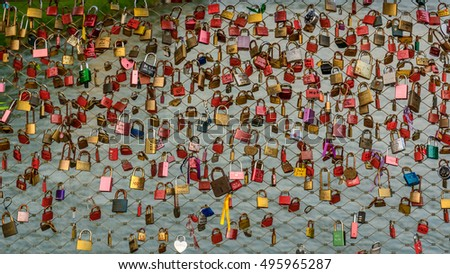 SALZBURG, AUSTRIA - 2016 MAY 11: Close-up view to the padlocks on the \