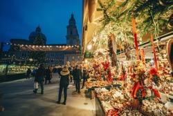 Salzburg Christmas Market in Residenzplatz at night