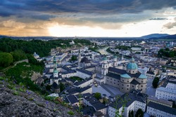 Salzburg Cityline view old town cathedral sundown