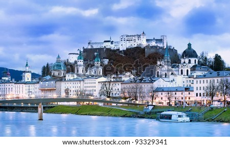 Salzburg in the Alps mountain, Austria, panoramic view in the early morning light - stock photo