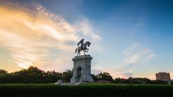 Sam Houston Statue at Sunset (Hermann Park, Houston, Texas)