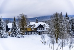 Samalova cottage - old wooden hunting chateau on Nova Louka near Bedrichov, Jizera Mountains, Czech Republic.