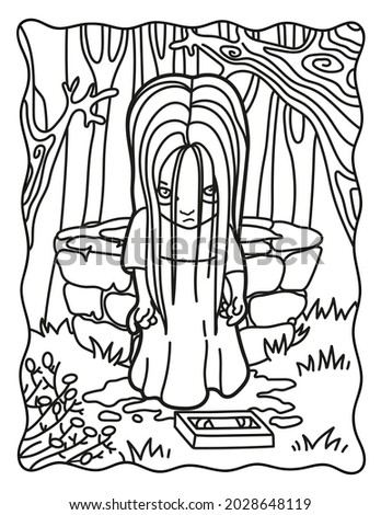 Samara Morgan. Call. Horror. Coloring book for children. Coloring book for adults. Halloween coloring page. Horror. Kawaii. Black and white illustration.