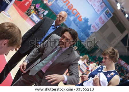 SAMARA, RUSSIA - MAY 15: Coach of BC Triumph Valdemaras Chomicius says the game plan in a game against BC Krasnye Krylia on May 15, 2011 in Samara, Russia.