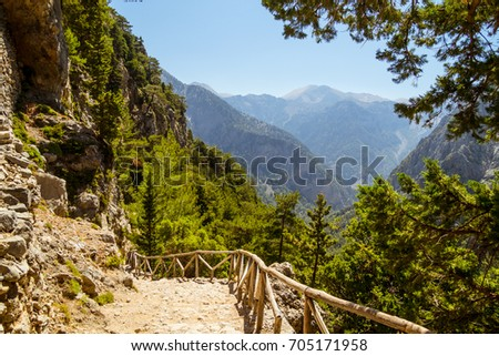 Samaria Gorge hiking path on island of Crete