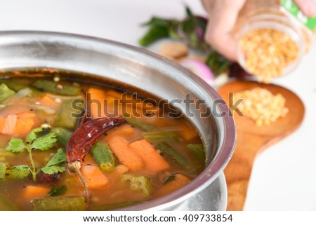 Free Sambar South Indian curry/ dish, Kerala, India. lentil/ dal