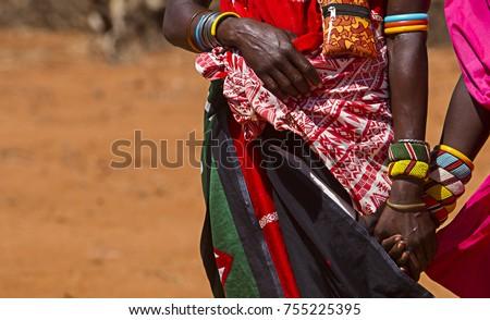 Samburu Women holding hands in Tribal Attire