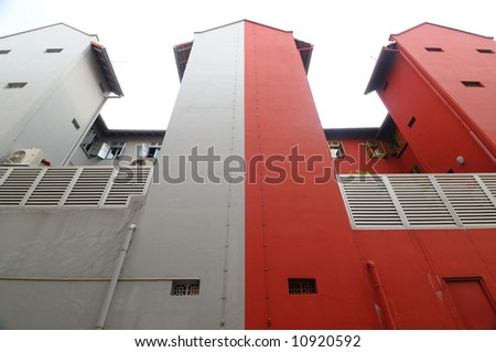 Same building with divided colors