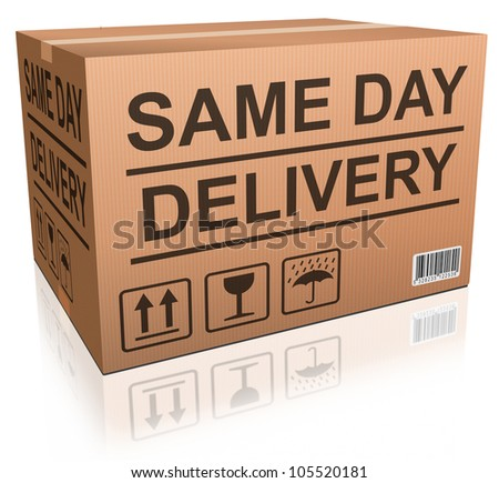 same day delivery cardboard box package from online internet web shop