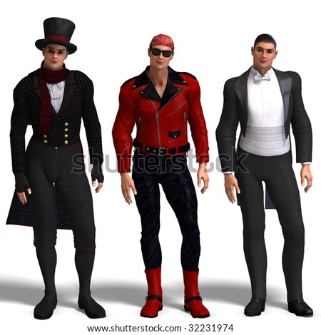 same man in three different costumes: Biker, Dandy, Tux. Mix'n'Match. With clipping path and shadow over white