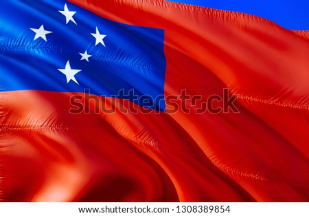 Samoa flag. 3D Waving flag design. The national symbol of Samoa, 3D rendering. National colors and National flag of Samoa for a background. Oceania sign on smooth silk