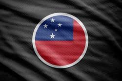 Samoa flag isolated on black background. National symbols of Samoa.