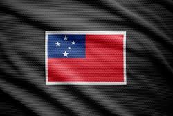 Samoa flag isolated on black jersey. National symbols of Samoa.