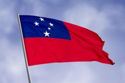 Samoa flag isolated on sky background. close up waving flag of Samoa. flag symbols of Samoa.