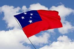 Samoa flag isolated on sky background with clipping path. close up waving flag of Samoa. flag symbols of Samoa.