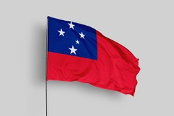 Samoa flag isolated on white background with clipping path. close up waving flag of Samoa. flag symbols of Samoa. Samoa flag frame with empty space for your text.