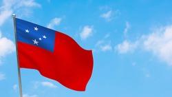 Samoa flag on pole. Blue sky. National flag of Samoa