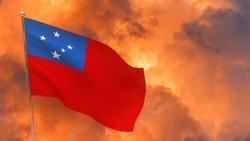 Samoa flag on pole. Dramatic background. National flag of Samoa