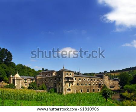 Samos Monastery, Lugo, Spain - the Pilgrim's Road to Santiago de Compostela, UNESCO - stock photo
