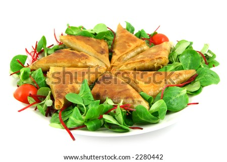 samosas and salad on a plate, isolated on white