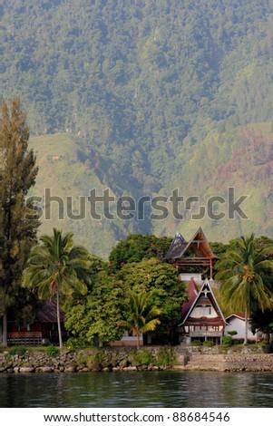 Samosir, Tuk Tuk at lake Toba on Sumatra, Indonesia