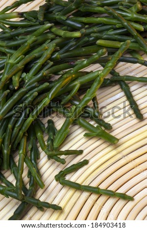 Samphire (also rock samphire) is a European plant of the parsley family, which grows on rocks and cliffs by the sea. Its aromatic fleshy leaves are eaten as a vegetable.