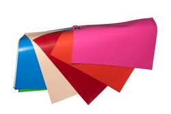 Sample color vinyl sheet for in side car decor material. isolated on white background. This has clipping path.