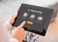 Sample e-learning website on tablet computer