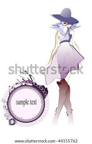 Sample illustration young adult girl with hat and space for sample text- fashionable concept.