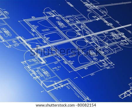 Sample of architectural blueprints over a blue background / Blueprint
