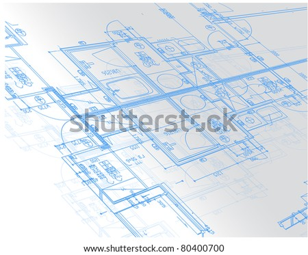 Sample of architectural blueprints over a light gray background / Blueprint