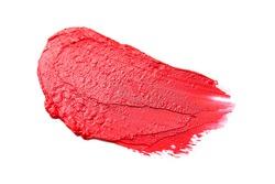 Sample of bright lipstick on white background