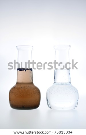 Sample of clean and dirty water isolated