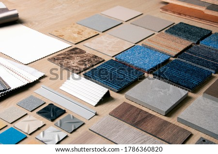 Sample of Materilas disign with stanless steel, carpet, wood, vinyl, curtain and laminate. Home Renovation with construction materials. Foto stock ©