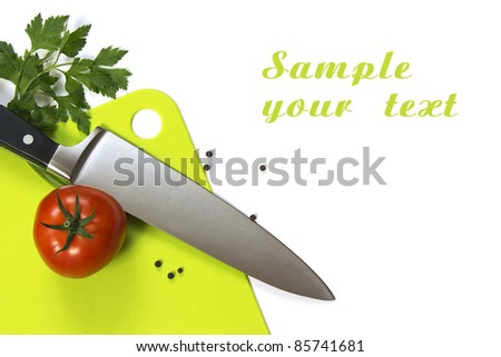 Sample page for Cookbook with the image of the board, knife, tomato. for the background