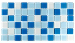 Sample small glass white and blue tile on a plastic grid