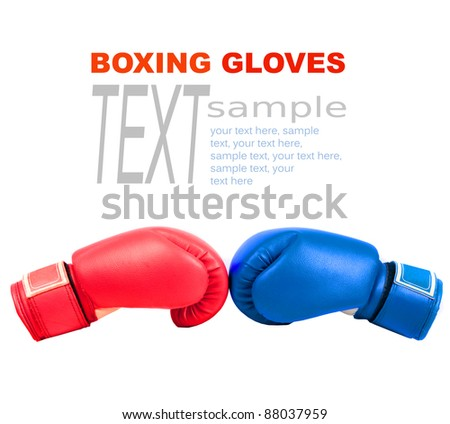 Sample text with boxing gloves on a white background close up Zdjęcia stock ©