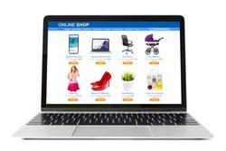 Sample website of online store viewed on laptop computer