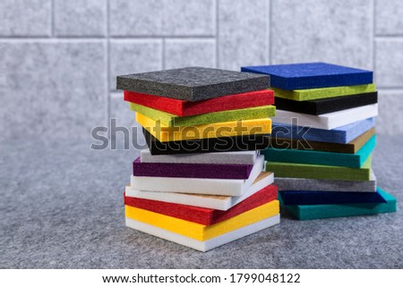 Samples of acoustic polyester material in different colors ストックフォト ©